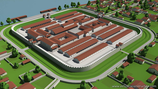Virtual reconstruction of the Albertfalva fort. View from northwest.
