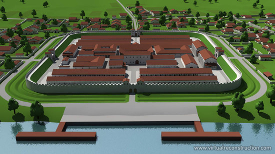 Virtual reconstruction of the Albertfalva fort. View from east.