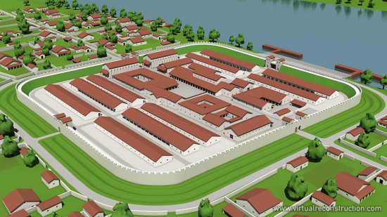 Virtual reconstruction of the Albertfalva fort. View from southwest.