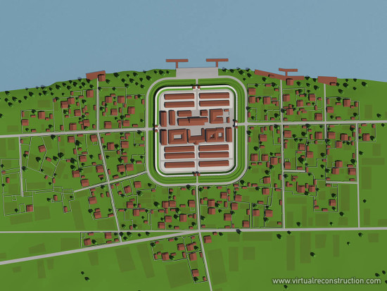 Virtual reconstruction of the Albertfalva fort. View from top, fort and vicus