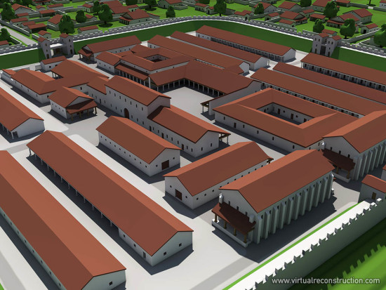 Virtual reconstruction of the Albertfalva fort. Horrea, barracks, praetoria