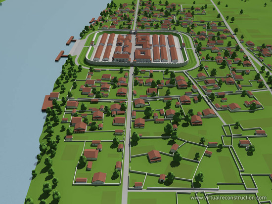 Virtual reconstruction of the Albertfalva fort. View from north.