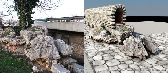 Photo of the aqeduct - road crossing, and reconstructed view.