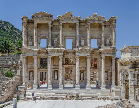 Facade of the library of Celsus in Ephesus