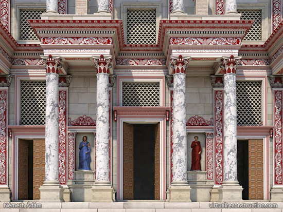 Virtual reconstruction of the Celsus library, close-up of the entrance.