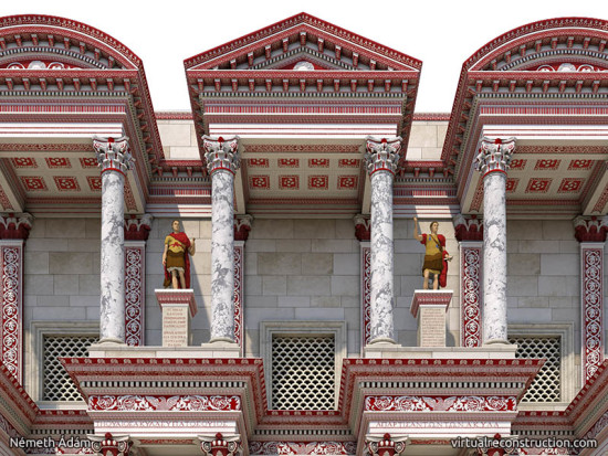 Virtual reconstruction of the Celsus library, close up of the statues on the first floor.
