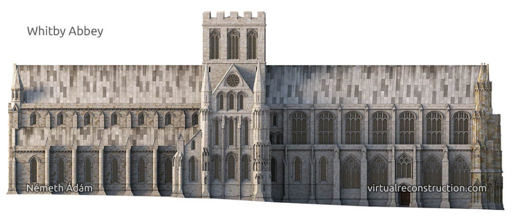Whitby Abbey virtual reconstruction North front
